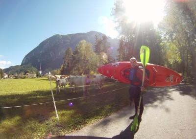 Luca Tavian kayaking in Austria