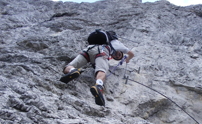 Luca Tavian in ferrata
