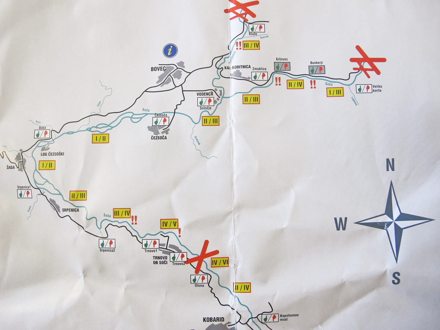 Mappa del Soca per il kayak